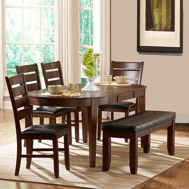 Camden 6 Piece Oval Shape Dining Set Contemporary Dining Tables