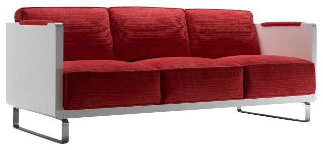 Kubo 3-Seat Sofa, Dark Blue - Grey - 66019gsm, Fumed White contemporary-sofas