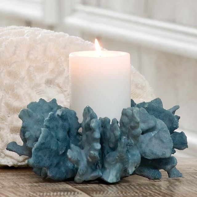 Regina Andrew Blue Coral Pillar Holder traditional-candles-and-candleholders