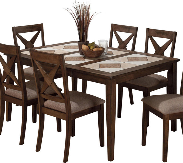 Jofran 794 64 Tri Color Tile Top Dining Table With Butterfly Leaf Transitional Dining Tables