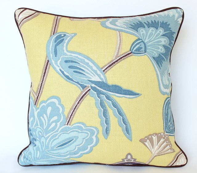 Yellow And Blue Chinoiserie Pillow With Piping Asian