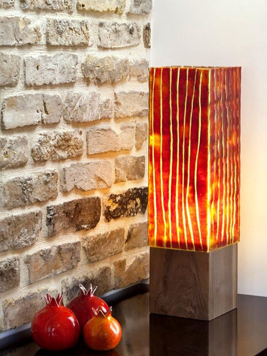 """""""Fire"""" - art stained glass floor lamp, made of wood and glass."""