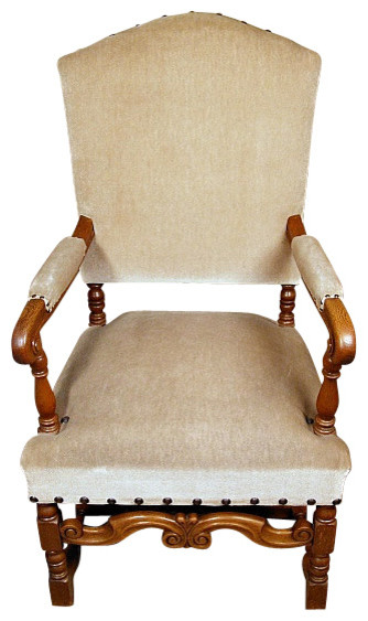 Vintage solid oak cream upholstered arm chair for Cream upholstered dining chairs