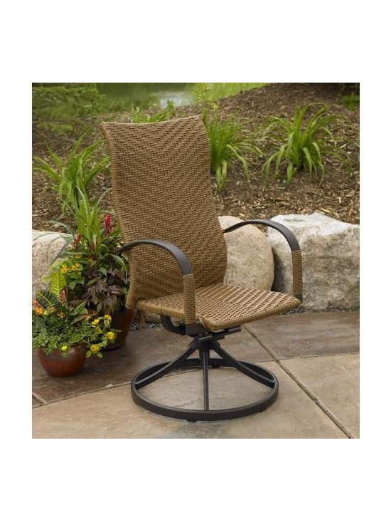 Saddle Swivel Dining Rocker (Set of 2) - For comfort while dining, select this lightweight Saddle Swivel Dining Rocker. Made from resin wicker with an aluminum frame, this comes in sets of two.