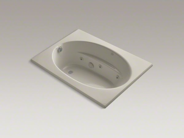 "KOHLER Windward(R) 60"" x 42"" drop-in whirlpool with custom pump location and hea contemporary-bathtubs"
