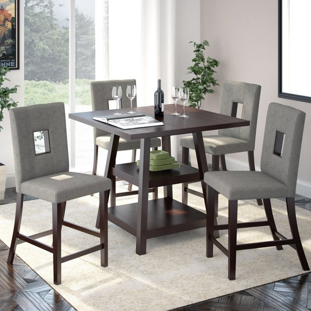 Corliving Bistro 5 Piece Counter Height Dining Set Rich