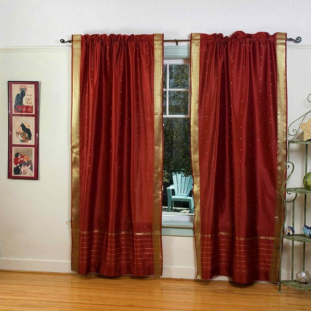 Rod Pocket Sari Curtains, Sari Panels, Sari Drapes