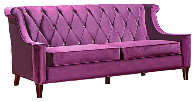 Modern purple velvet sofa with crystal buttons victorian for Modern victorian sofa