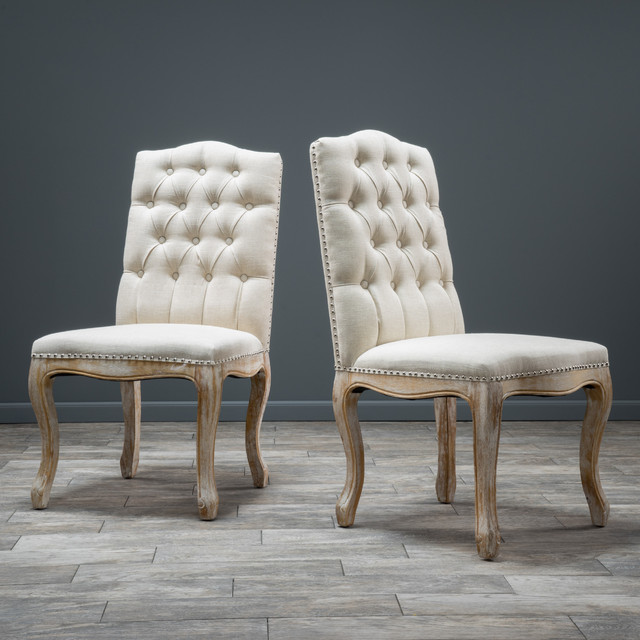 Christopher knight home weathered hardwood studded beige for Studded dining room chairs