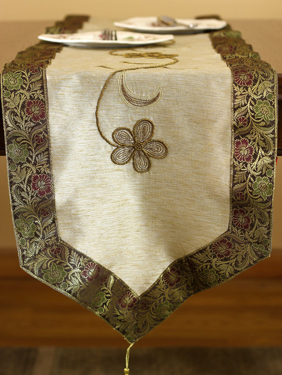 """Elegant Table Runners - Beige - Brown """"Enchanted"""" Indian table runner. Crafted by hand in India. Caramel color."""