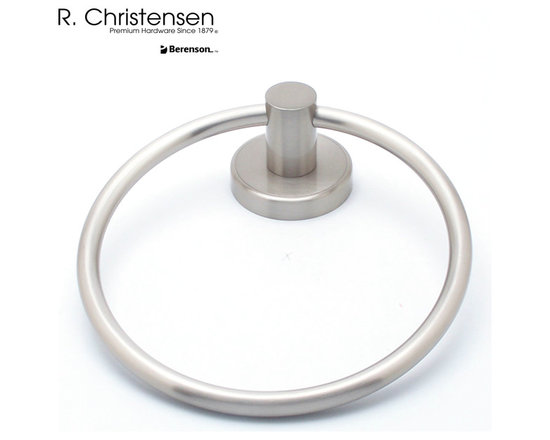 2211US15 Brushed Nickel Towel Ring by R. Christensen - 6-9/16 inch long contemporary style towel ring by R. Christensen in Brushed Nickel.