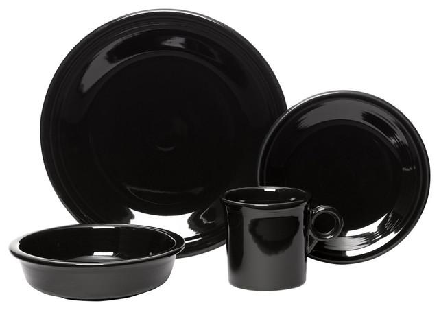Fiesta 4pc Place Setting, Black transitional-dinnerware-sets