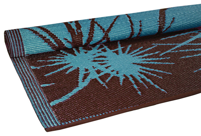 Bamboo Print Floor Mat Turquoise Brown Contemporary