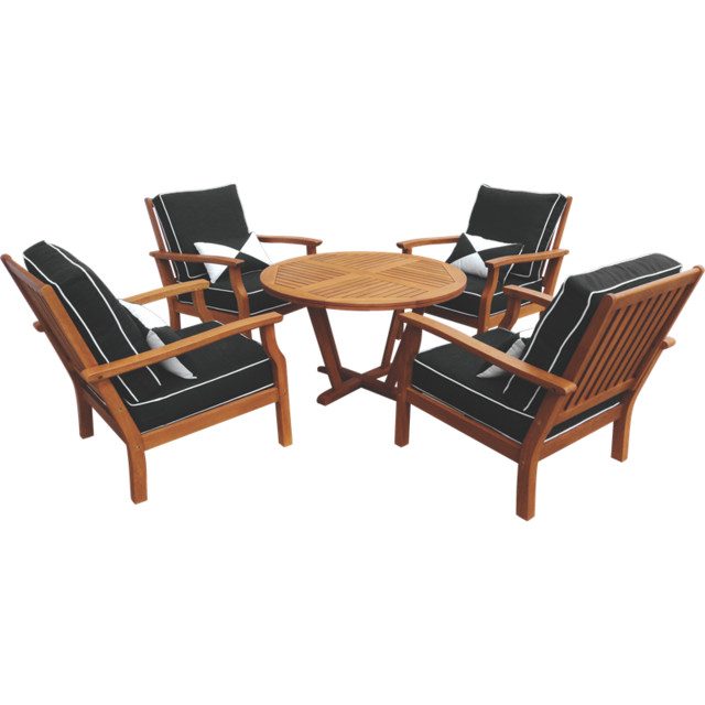 5 piece fresco timber lounge setting contemporary for Patio lounge sets