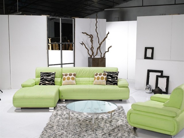 Modern light green leather sectional sofa for Light green sectional sofa