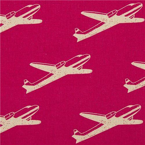 Pink echino airplane poplin fabric airplane fabric by for Childrens airplane fabric