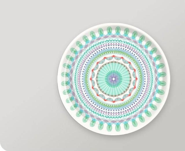 Folk Stripe 15-Inch Tray in Aqua eclectic-platters