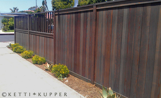 Gray Stained Fence Contemporary Landscape Los
