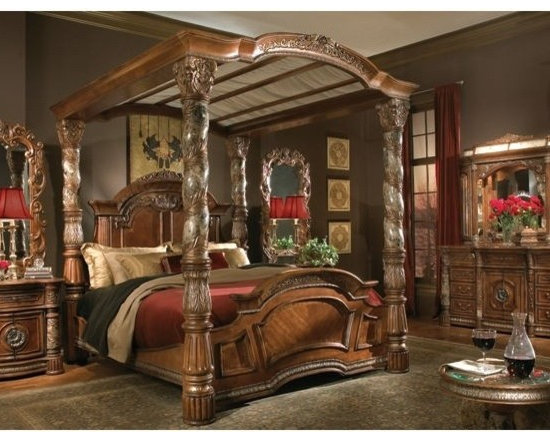 AICO Furniture - Villa Valencia Poster Canopy Bedroom Set in Chestnut - 72015-55 - E. King or California King poster canopy bed