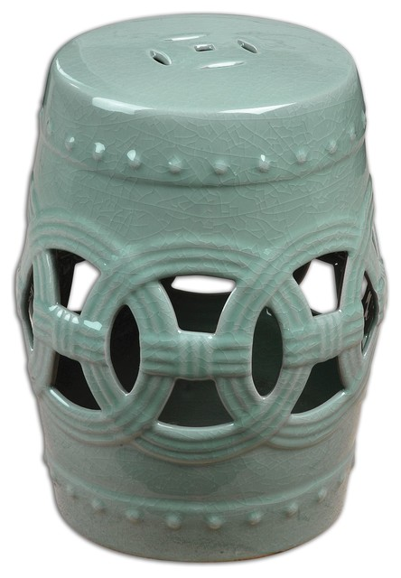 Uttermost Old Sage Ceramic Garden Stool 24601 contemporary-outdoor-benches
