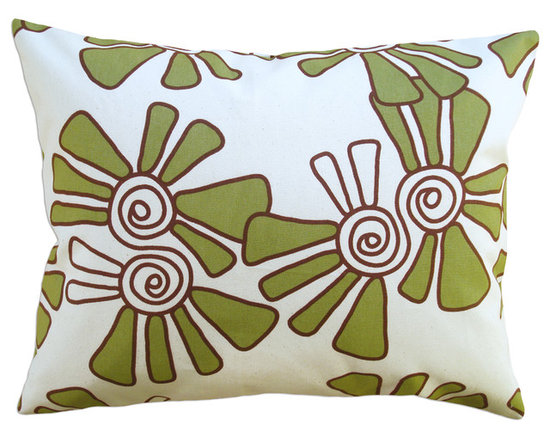 Balanced Design - Hand Printed Canvas Pillow - Alex, Moss, 14 x 18 - -Graphic, modern patterns -Hand printed in a historic Rhode Island textile mill on 10oz. canvas -Eco-friendly inserts (50% regenerated fiber made from recycled plastic bottles, 50% 95/5 feather)  -Zipper closure  -Wash in cold water, line dry.  -Sewn in Massachusetts  -Imported Fabric