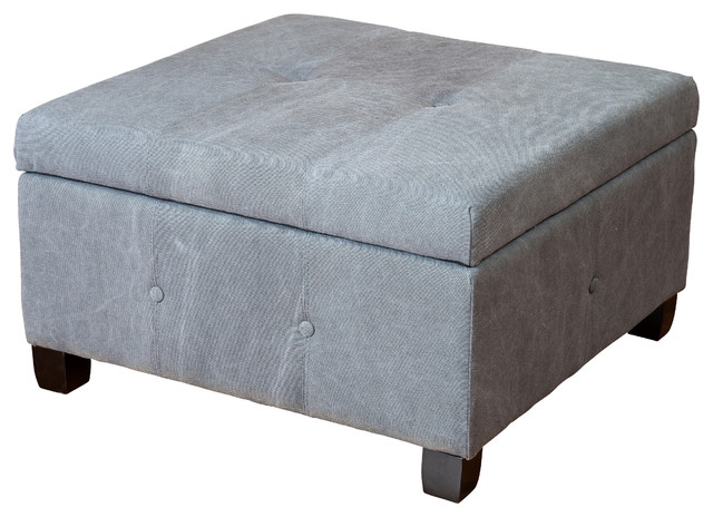 Codi Storage Ottoman Coffee Table, Grey Fabric