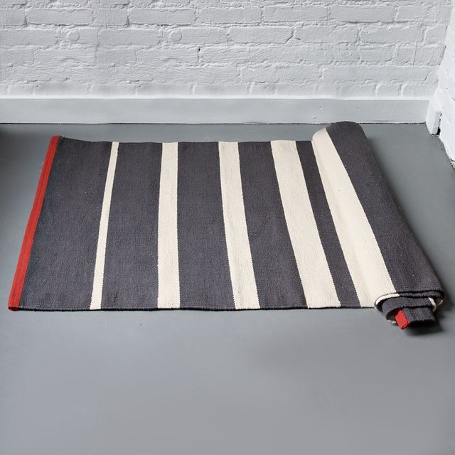 Gradiated Stripe Cotton Dhurrie, Iron modern rugs