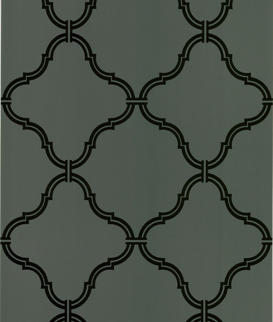 Estate Brown Moroccan Grate Wallpaper transitional-wallpaper