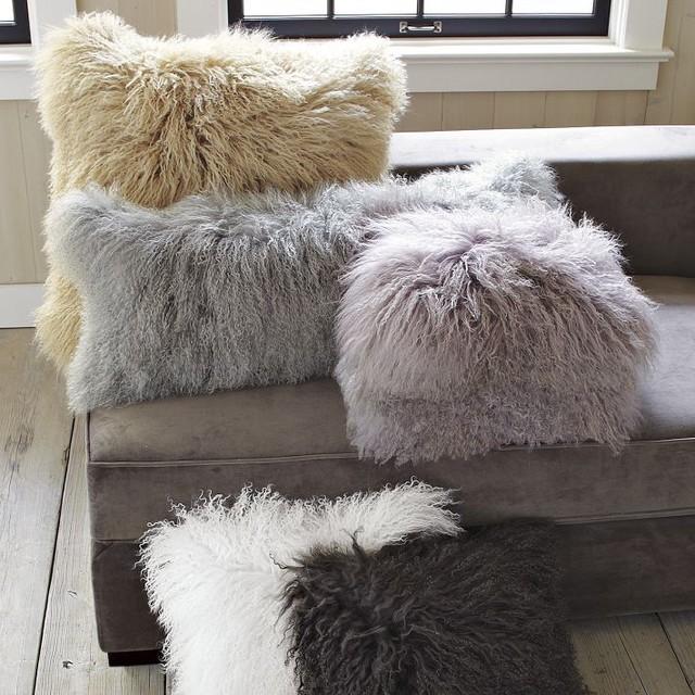 Mongolian Lamb Pillow Cover Contemporary Decorative