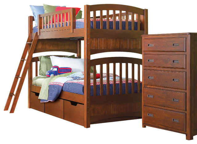 lea dillon 5 piece bunk bed kids 39 bedroom set in brown cherry traditional baby and kids by