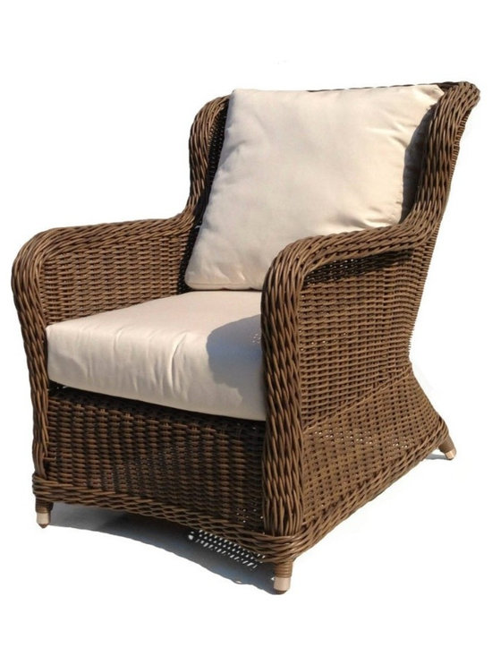 Wicker Paradise - Outdoor Wicker Lounge Chair - Bayshore - This simple yet stylish lounge chair will provide hours of comfort in your outdoor seating area. The all weather Bayshore wicker lounge chair is framed on aluminum for care-free outdoor living. It includes bottom and back cushions in Sunbrella Natural outdoor fabric.