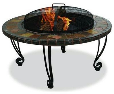 """Endless Summer 34"""" Wide Outdoor Fireplace With Slate Mantel mediterranean-fire-pits"""