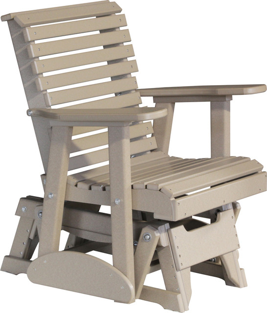 Outdoor Poly 2 Foot Porch Glider Chair Rollback Weatherwood Beach Style