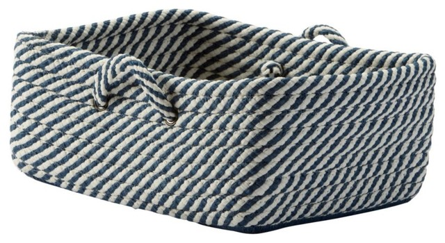 Small Navy and White Basket traditional-baskets