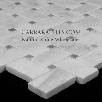 White Carrara Basketweave Mosaic Tile with Bardiglio Gray Dots Honed