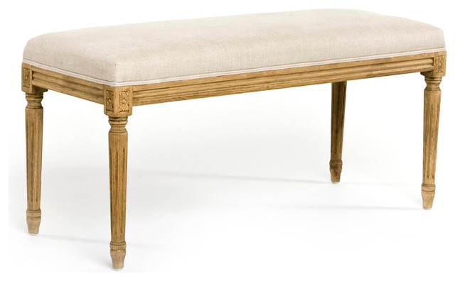 lille bench natural oak with natural linen transitional bedroom benches by bliss home