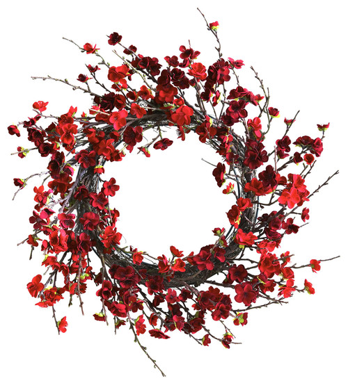 An elegant combination of rustic stems and plush plum leaves makes this wreath a wonderful addition