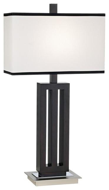 Possini euro design triple column wood table lamp modern Possini euro design deco style walnut column floor lamp