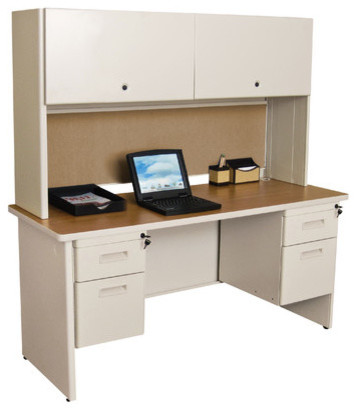 "Pronto 60"" Double File Computer Desk Credenza with Flipper Door Cabinet modern-home-office-accessories"