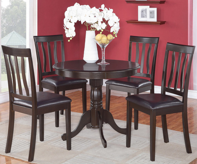 """5pc antique round kitchen 36"""" table and 4 chairs with faux"""