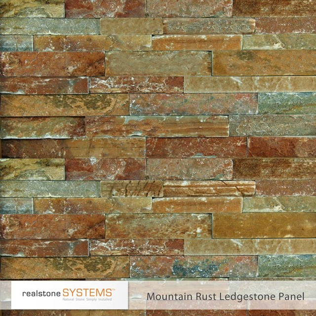 Realstone Mountain Rust Ledgestone contemporary fireplace accessories