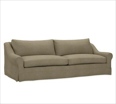 Windsor Slipcovered Sofa, Down-Blend Wrap Box Cushions, Washed Linen/Cotton Seag traditional-sofas