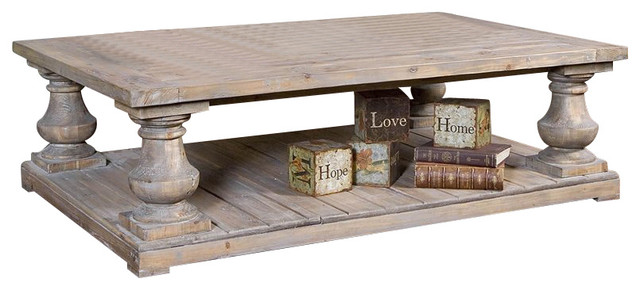 uttermost stratford rustic cocktail table in stony gray
