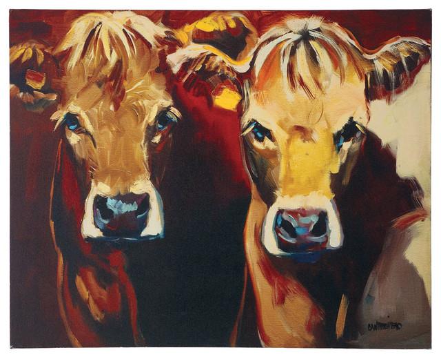Creative Co-Op Two Cows Canvas Wall Art contemporary-artwork