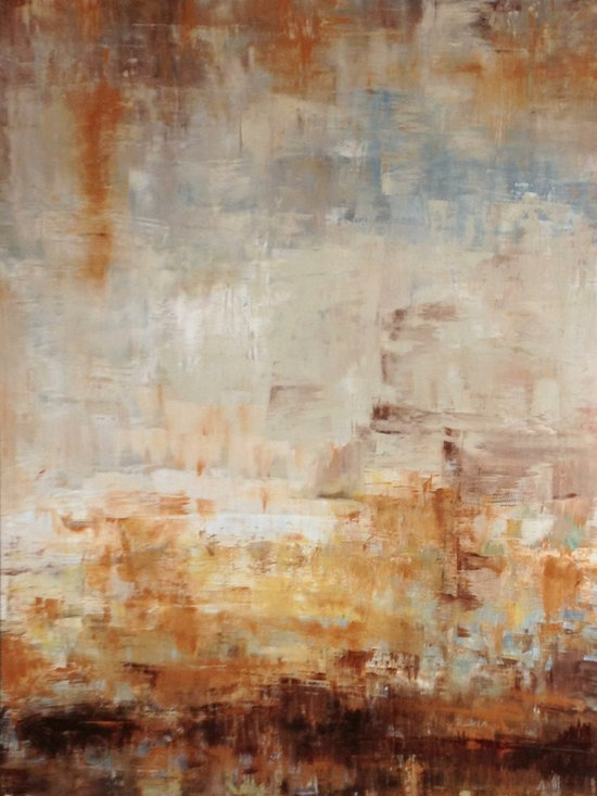 """Natural In Blue, Original, Painting - This is a large neutral painting, filled with browns, blues, tans, whites. It evokes the beach, and sand or stones.  It is on stretched canvas, with 2"""" painted gallery wrapped edges, and comes wired and ready to hang, with no need for frame if so desired."""