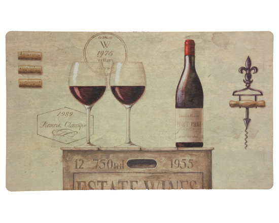 Mohawk Home Kitchen Rugs - Estate Wines - Display your love of wine with this whimsical mat. Easy to clean, no bleach or detergent necessary, blot spills with a dry cloth & air dry. American made by Mohawk Home.