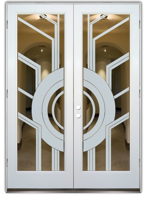 Glass Front Entry Doors - Frosted Obscure Etched Glass - Sun Odyssey Pos contemporary-front-doors