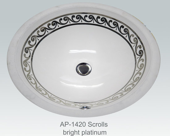"Hand Painted Undermounts by Atlantis Porcelain - ""SCROLLS"" Shown on AP-1420 white Monaco Medium undermount 17-1/4""x14-1/4""available on burnished gold or platinum and bright gold or platinum on any of our sinks."