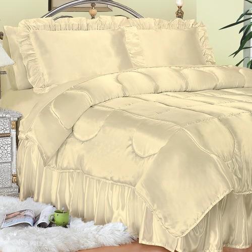 Charmeuse Satin Comforter Set in Bone modern-duvet-covers