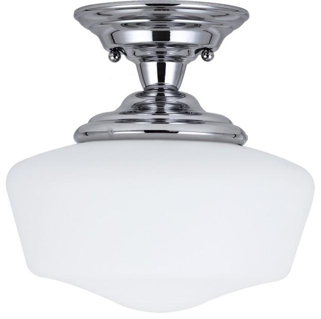 academy 1 light chrome small semi flush mount with satin. Black Bedroom Furniture Sets. Home Design Ideas
